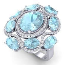 9.26 CTW Royalty Sky Topaz & VS Diamond Ring 18K White Gold - REF-178M2H - 39303
