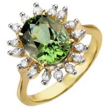 3.40 CTW Green Tourmaline & Diamond Ring 10K Yellow Gold - REF-78K9W - 10800