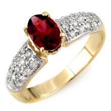 1.50 CTW Pink Tourmaline & Diamond Ring 10K Yellow Gold - REF-52W8F - 10954