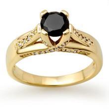 1.18 CTW VS Certified Black & White Diamond Ring 14K Yellow Gold - REF-64N2Y - 11882