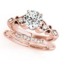 0.72 CTW Certified VS/SI Diamond Solitaire 2Pc Wedding Set Antique 14K Rose Gold - REF-125Y5K - 31566