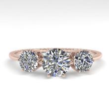 1 CTW Solitaire Past Present Future VS/SI Diamond Ring 18K Rose Gold - REF-157F5N - 35903