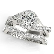 1 CTW Certified VS/SI Diamond 2Pc Wedding Set Solitaire Halo 14K White Gold - REF-117M5H - 31058