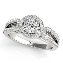 0.75 CTW Certified VS/SI Diamond Solitaire Halo Ring 18K White Gold - REF-95W8F - 26419