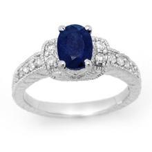 1.75 CTW Blue Sapphire & Diamond Ring 14K White Gold - REF-59M3H - 13493