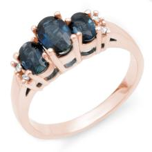 Natural 1.34 ctw Blue Sapphire & Diamond Ring 14K Rose Gold - 10536-#28Y5V