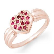 Genuine 0.40 ctw Pink Sapphire Ring 18K Rose Gold - 13645-#27K2T