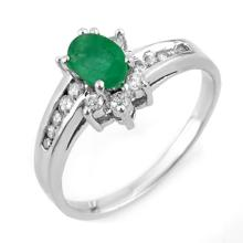 Natural 1.03 ctw Emerald & Diamond Ring 10K White Gold - 11018-#28X2Y