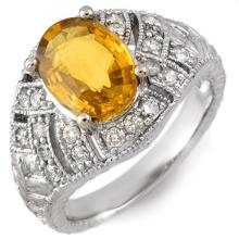 Natural 3.60 ctw Yellow Sapphire & Diamond Ring 14K White Gold - 10944-#65Y7V