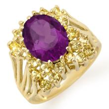 Natural 5.0 ctw Yellow Sapphire & Amethyst Ring 10K Yellow Gold - 11774-#48T3Z