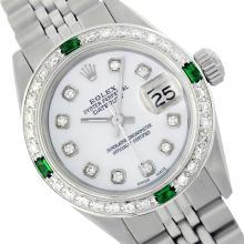 Rolex Ladies Stainless Steel, Diam Dial & Diam/Emerald Bezel, Saph Crystal - REF-355Y6X