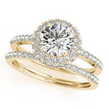 1.25 CTW Certified VS/SI Diamond 2Pc Wedding Set Solitaire Halo 14K Yellow Gold - REF-204Y2K - 30926