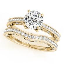 1.27 CTW Certified VS/SI Diamond Solitaire 2Pc Wedding Set Antique 14K Yellow Gold - REF-224X2T - 31525