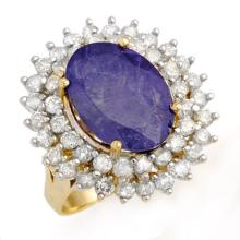 8.78 CTW Tanzanite & Diamond Ring 14K Yellow Gold - REF-375K6R - 13386