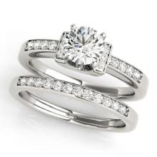 0.76 CTW Certified VS/SI Diamond Solitaire 2Pc Set 14K Two Tone Gold - REF-125A5N - 31583