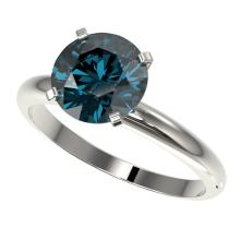 2.50 CTW Certified Intense Blue Si Diamond Solitaire Engagement Ring Gold - REF-608H5W - 32948