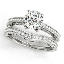 1.27 CTW Certified VS/SI Diamond Solitaire 2Pc Wedding Set Antique Gold - REF-224H2W - 31523