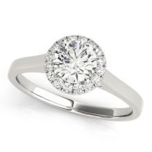 0.85 CTW Certified VS/SI Diamond Solitaire Halo Ring 18K White Gold - REF-207N6A - 26590