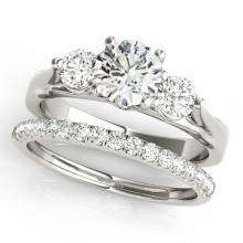 2.17 CTW Certified VS/SI Diamond 3 Stone 2Pc Wedding Set 14K Gold - REF-552H7W - 32036
