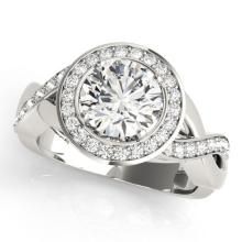 2 CTW Certified VS/SI Diamond Solitaire Halo Ring 18K White Gold - REF-541M3F - 26176
