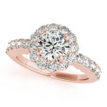 1.75 CTW Certified VS/SI Diamond Solitaire Halo Ring 18K Rose Gold - REF-408M4F - 26845