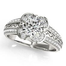 0.85 CTW Certified VS/SI Diamond Solitaire Halo Ring 18K White Gold - REF-140N2A - 26907