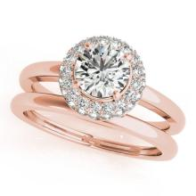 0.75 CTW Certified VS/SI Diamond 2Pc Wedding Set Solitaire Halo 14K Gold - REF-115R3K - 30916