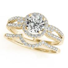 1.36 CTW Certified VS/SI Diamond 2Pc Wedding Set Solitaire Halo 14K Gold - REF-370X7Y - 31183