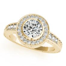 1.11 CTW Certified VS/SI Diamond Solitaire Halo Ring 18K Yellow Gold - REF-216X2Y - 26651