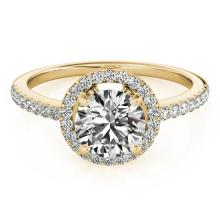 1.4 CTW Certified VS/SI Diamond Solitaire Halo Ring 18K Yellow Gold - REF-380K5R - 26819