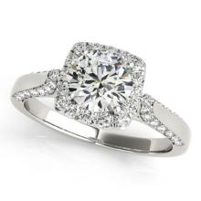 1.35 CTW Certified VS/SI Diamond Solitaire Halo Ring 18K White Gold - REF-213W8H - 26248