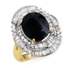 5.95 CTW Blue Sapphire & Diamond Ring 14K Yellow Gold - REF-131H3W - 12844