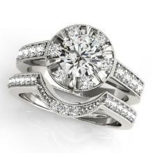 2.35 CTW Certified VS/SI Diamond 2Pc Wedding Set Solitaire Halo 14K Gold - REF-488H7W - 31292