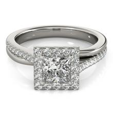 1.5 CTW Certified VS/SI Princess Diamond Solitaire Halo Ring 18K Gold - REF-399F3M - 27201