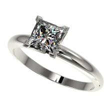 1.25 CTW Certified VS/SI Quality Princess Diamond Solitaire Ring Gold - REF-372K3R - 32916