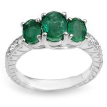 2.50 CTW Emerald & Diamond Ring 10K White Gold - REF-49R3K - 10770