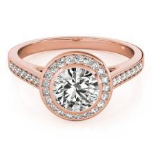 1.3 CTW Certified VS/SI Diamond Solitaire Halo Ring 18K Rose Gold - REF-385K3R - 26417