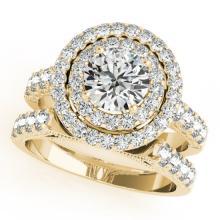 2.67 CTW Certified VS/SI Diamond 2Pc Wedding Set Solitaire Halo 14K Gold - REF-458K4R - 31222