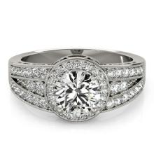 1.5 CTW Certified VS/SI Diamond Solitaire Halo Ring 18K White Gold - REF-398W9H - 26793