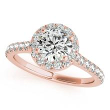 1.11 CTW Certified VS/SI Diamond Solitaire Halo Ring 18K Rose Gold - REF-198M4F - 26390