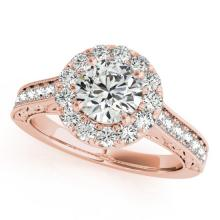 1.7 CTW Certified VS/SI Diamond Solitaire Halo Ring 18K Rose Gold - REF-409X6Y - 26513
