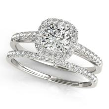 0.93 CTW Certified VS/SI Cushion Diamond 2Pc Set Solitaire Halo 14K Gold - REF-142W2H - 31388