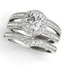 1.91 CTW Certified VS/SI Diamond 2Pc Wedding Set Solitaire Halo 14K Gold - REF-421A6N - 31232
