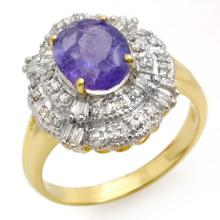2.70 CTW Tanzanite & Diamond Ring 14K Yellow Gold - REF-90W9H - 13835