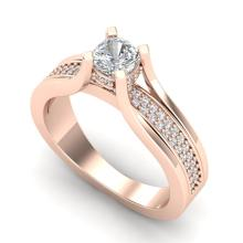 1.01 CTW Cushion VS/SI Diamond Solitaire Micro Pave Ring 18K Gold - REF-200K2R - 37161