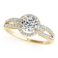 1 CTW Certified VS/SI Diamond Solitaire Halo Ring 18K Yellow Gold - REF-192F7M - 26807