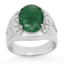 6.33 CTW Emerald & Diamond Men's Ring 10K White Gold - REF-71W5H - 13416