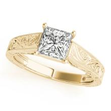 0.75 CTW Certified VS/SI Princess Diamond Solitaire Ring 18K Yellow Gold - REF-180W2H - 28124