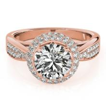 1.65 CTW Certified VS/SI Diamond Solitaire Halo Ring 18K Rose Gold - REF-400M2F - 27007