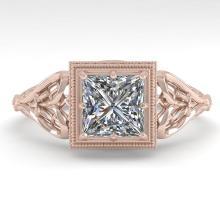 1.0 CTW VS/SI Princess Diamond Solitaire Engagement Ring Deco Gold - REF-344R4K - 36041